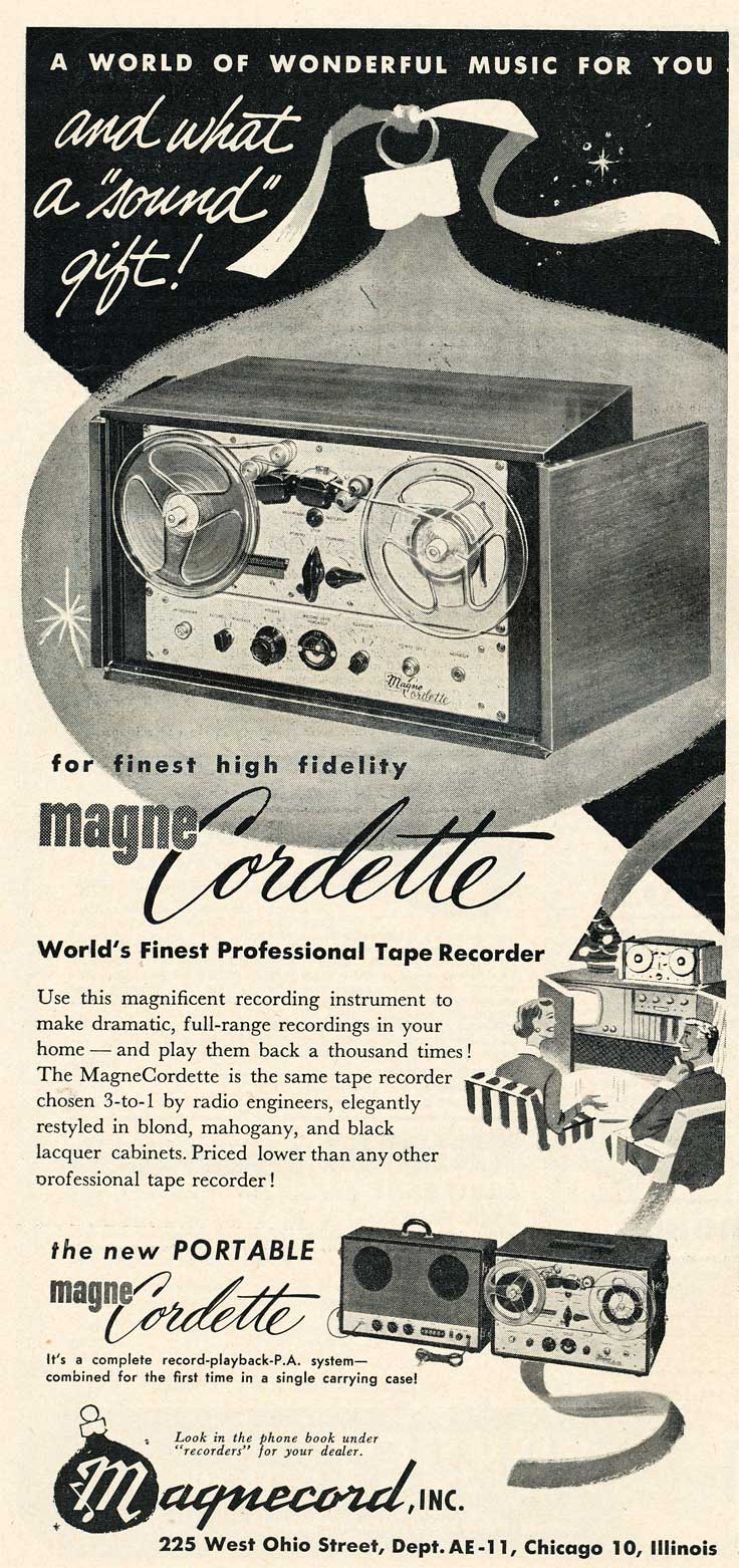 1953 ad for the Magnecord Cordette reel tape recorder in Reel2ReelTexas.com's vintage recording collection