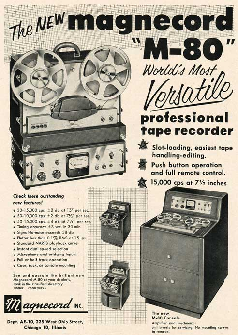 1953 Magnecord M-80 reel tape recorder ad in Reel2ReelTexas.com's vintage recording collection