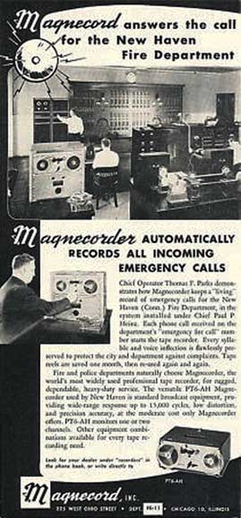 1953 ad for the magnecord reel tape recorder in Reel2ReelTexas.com's vintage recording collection
