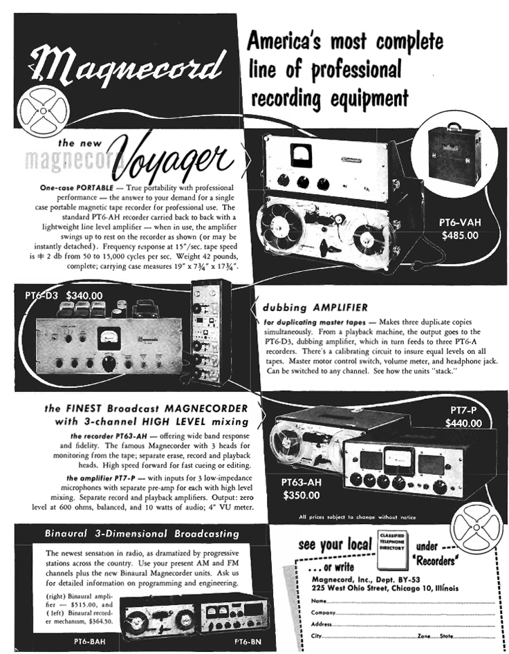 1953 Magnecord PT-7 reel to reel tape recorder ad in Reel2ReelTexas.com's vintage recording collection