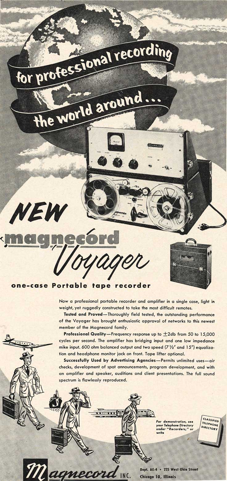 1953 Magnecord Voyager reel tape recorder ad in Reel2ReelTexas.com's vintage recording collection