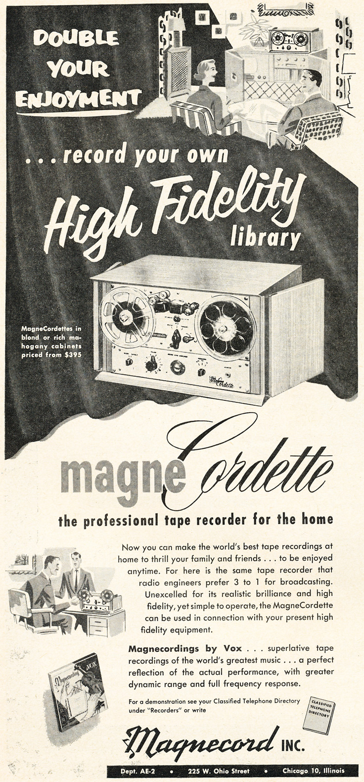 1953 Magnecord Magnecordette reel tape recorder ad in Reel2ReelTexas.com's vintage recording collection
