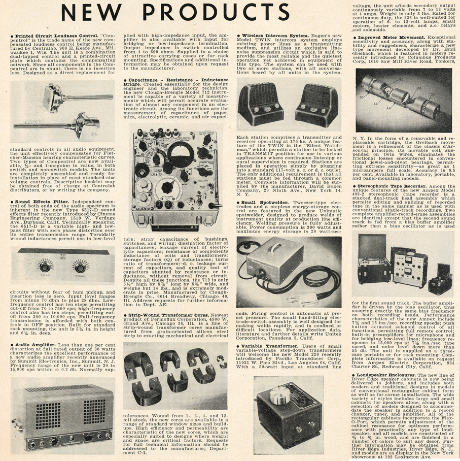 1953 listing of New Products in Reel2ReelTexas.com's vintage recording collection