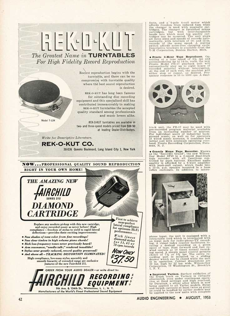 1953 Audio Engineering New Products info in Reel2ReelTexas.com's vintage recording collection