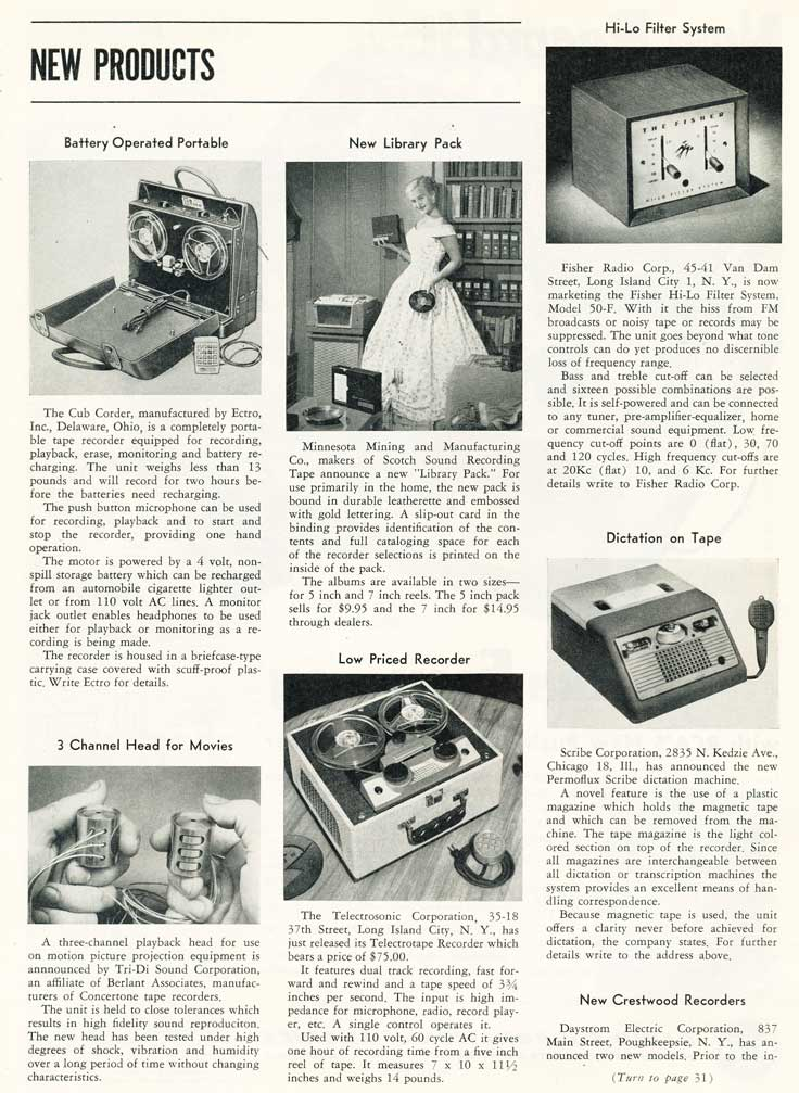 1953 review of new products in the Film and Tape Recording magazine in Reel2ReelTexas' vintage recording collection