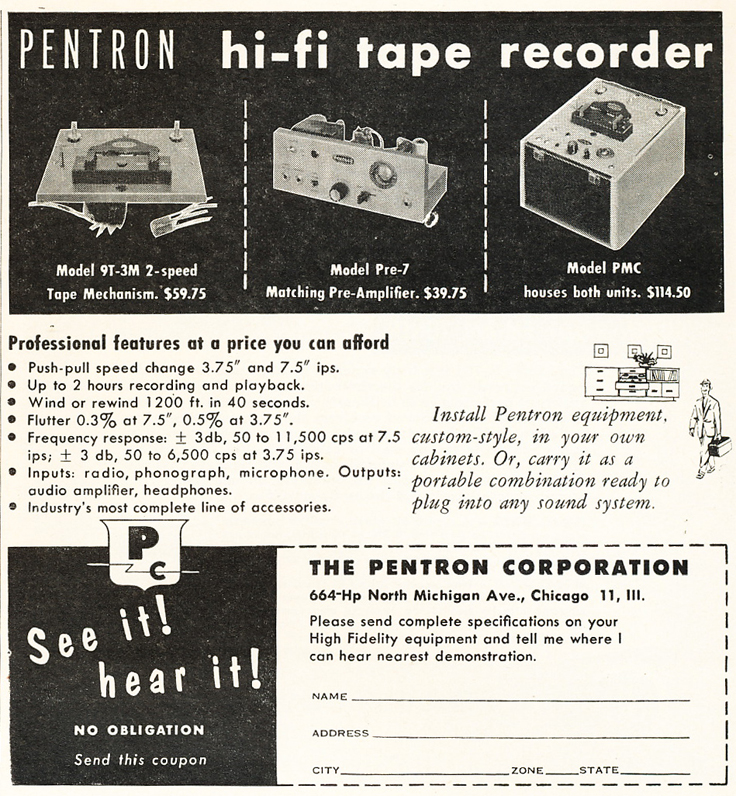 1953 Pentron reel to reel tape recorder ad in Reel2ReelTexas.com's vintage recording collection