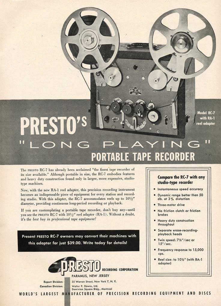 Presto ads from 1953 in the Museum of Magnetic Sound Recording