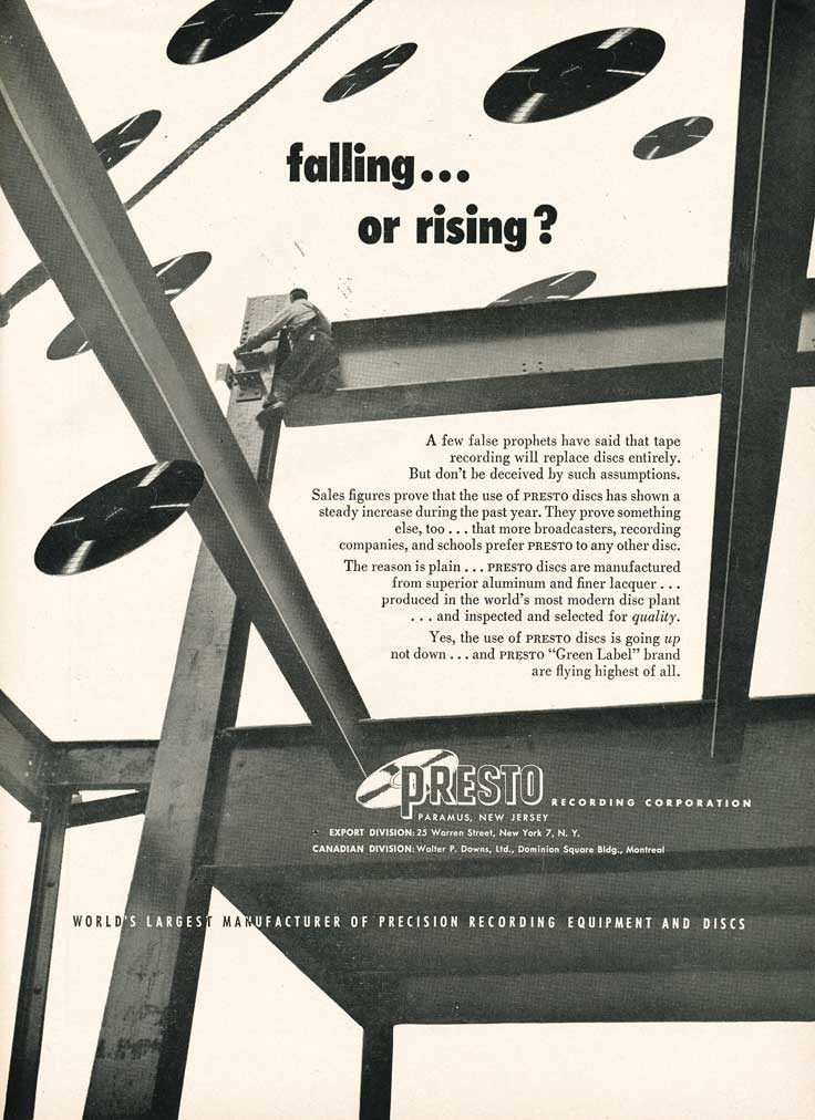1953 Presto ad in Reel2ReelTexas.com's vintage recording collection