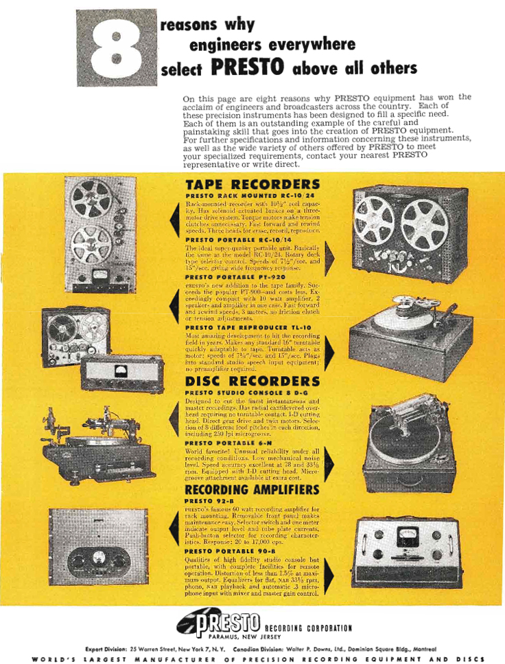 1953 Presto RC-11 reel tape recorder ad in Reel2ReelTexas.com's vintage recording collection