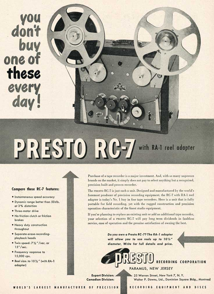 1953 ad for the Presto RC-7 reel tape recorder in Reel2ReelTexas.com's vintage recording collection