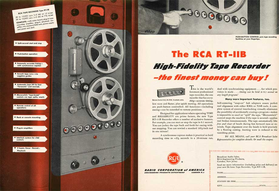 1953 ad for RCA reel high fidelity tape recorder in Reel2ReelTexas.com's vintage recording collection