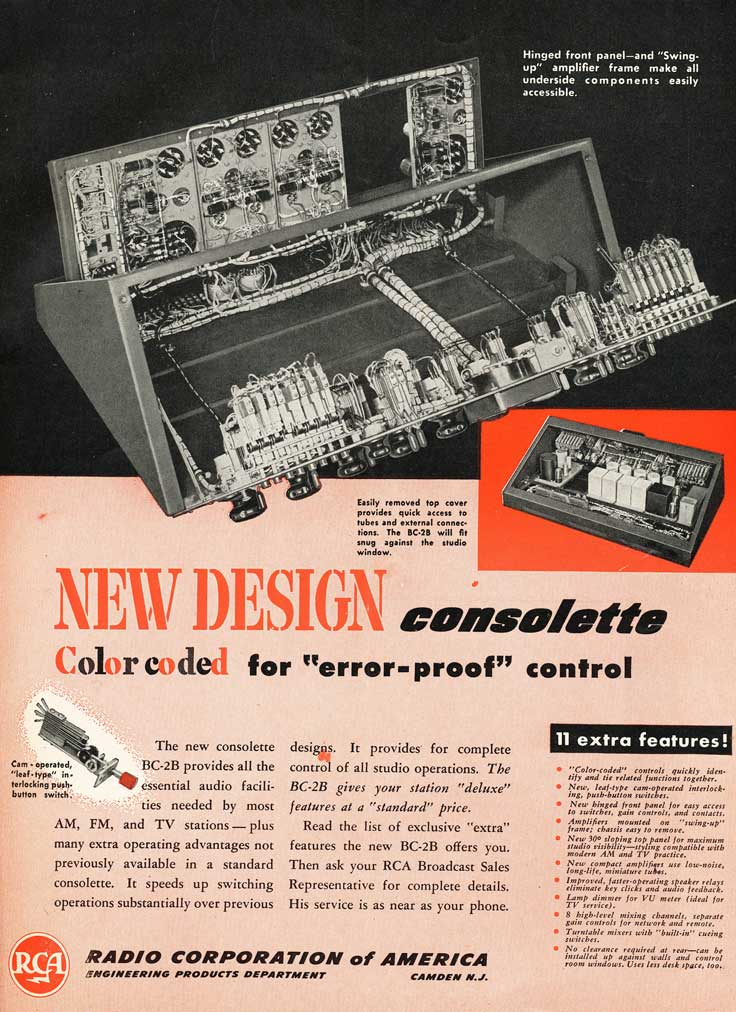1953 RCA radio and studio console ad in Reel2ReelTexas.com's vintage recording collection