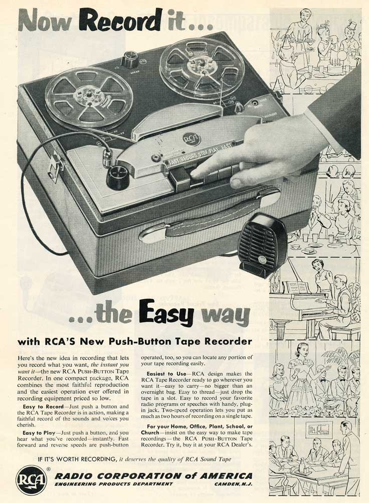 1953 ad for the RCA tape recorder in Reel2ReelTexas.com's vintage recording collection