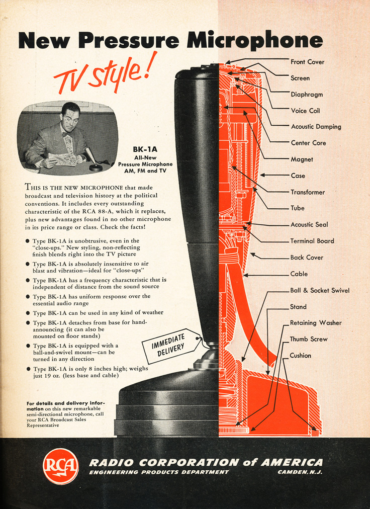 1953 RCA BK-1 microphone ad in Reel2ReelTexas.com's vintage recording collection