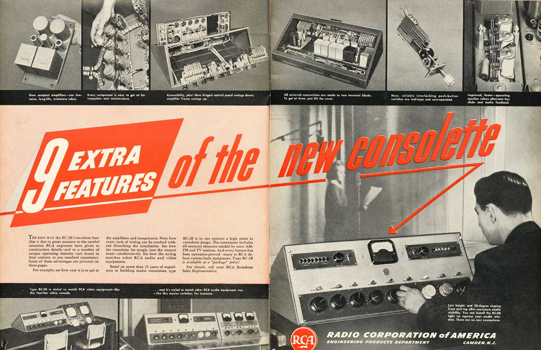 1952 RCA radio and studio console ad in Reel2ReelTexas.com's vintage recording collection