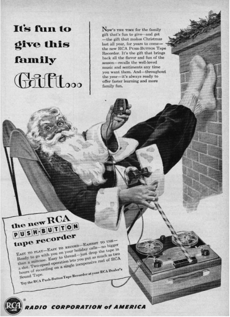 1953 RCA ad featuring the new push button reel to reel tape recorder in Reel2ReelTexas.com's vintage recording collection