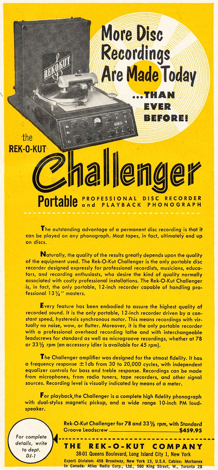 1953 Rek-O-Kut record cutter ad in Reel2ReelTexas.com's vintage recording collection