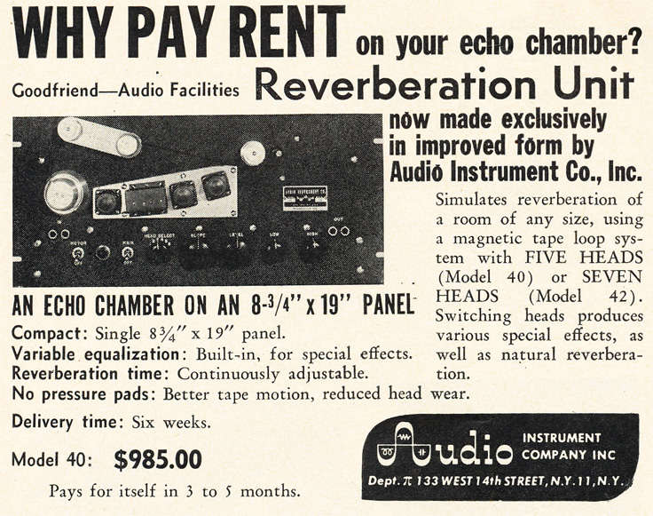 1953 Audio Instrument Company's Reverbration unit ad in Reel2ReelTexas.com's vintage recording collection