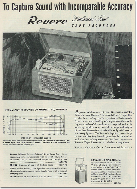 picture of 1953 ad for Revere reel tape recorders