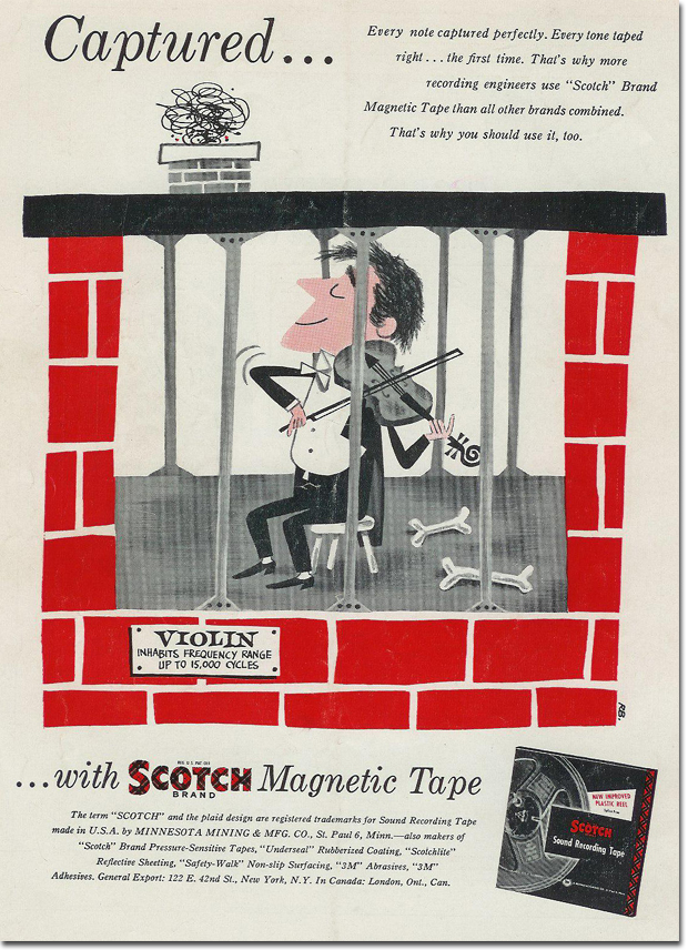 picture of 1953 ad for Scotch reel recording tape
