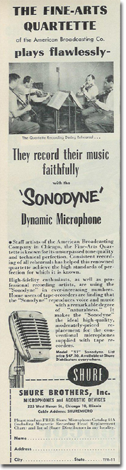 picture of 1953 Shure microphone ad