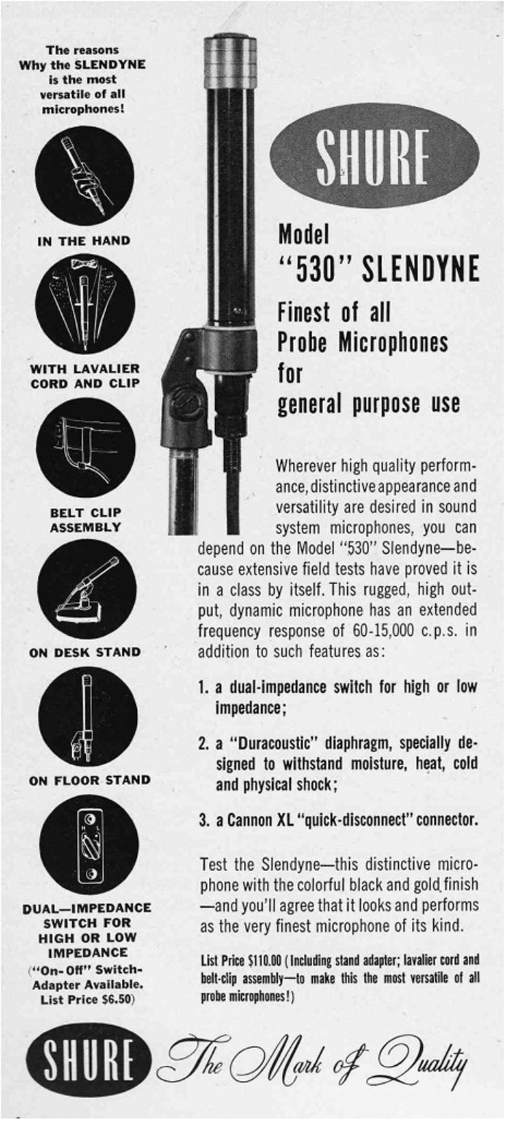 1953 ad for the Shure 530 microphone in the Reel2ReelTexas.com's vintage recording collection