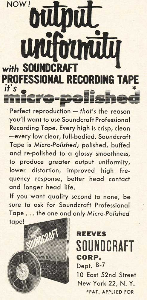 1953 Reeves Soundcraft recording tape ad in Reel2ReelTexas.com's vintage recording collection