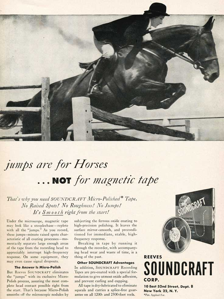 1953 Soundcraft recording tape ad in Phantom Productions' vintage reel  tape recorder collection