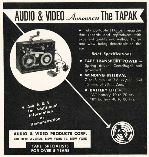 1953 ad for the Tapak reel tape recorder in Reel2ReelTexas.com's vintage recording collection