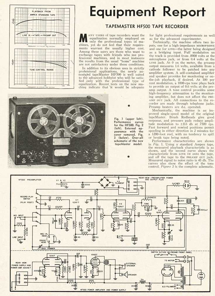 1953 Tapemaster HF500 reel tape recorder review in Reel2ReelTexas.com's vintage recording collection