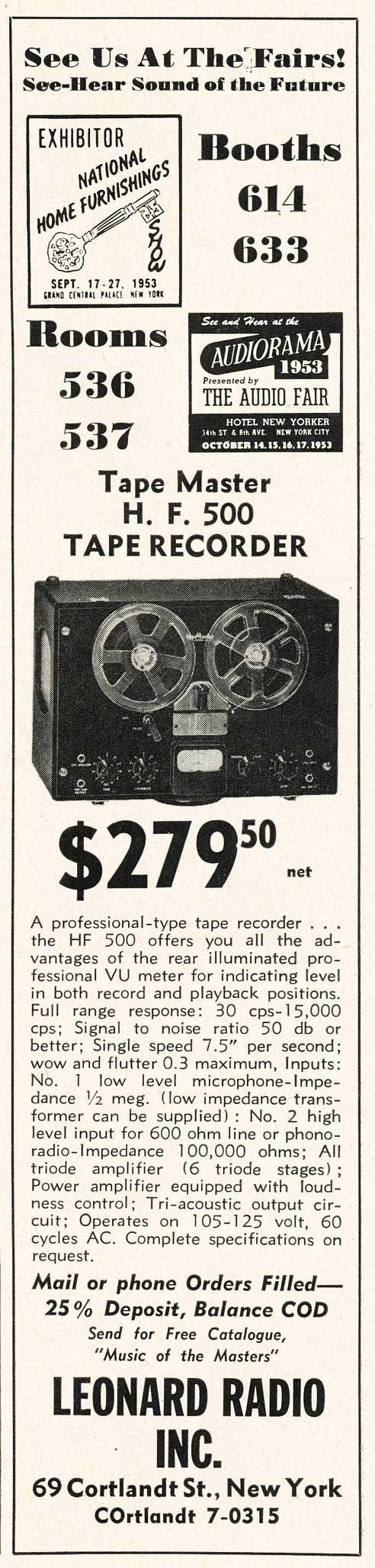 1953 Leonard Radio Tapemaster reel tape recorder ad in Reel2ReelTexas.com's vintage recording collection
