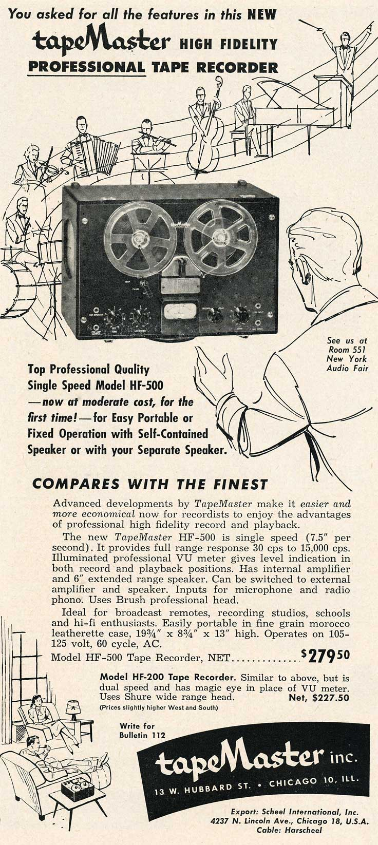 1953 ad for Tapemaster reel tape equipment in Reel2ReelTexas.com's vintage recording collection