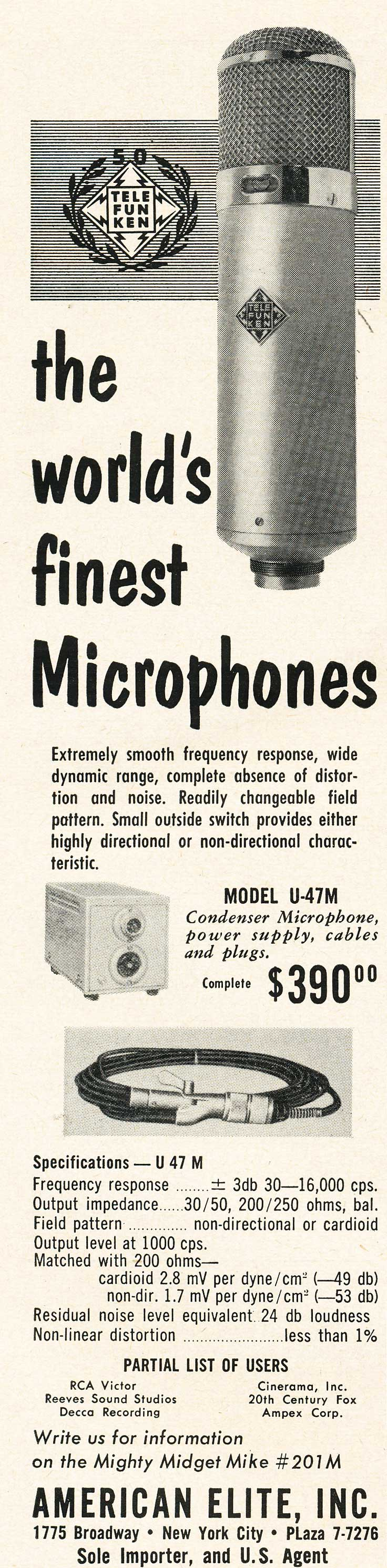1953 Ad for the Telefunken professional microphone in Reel2ReelTexas.com's vintage recording collection