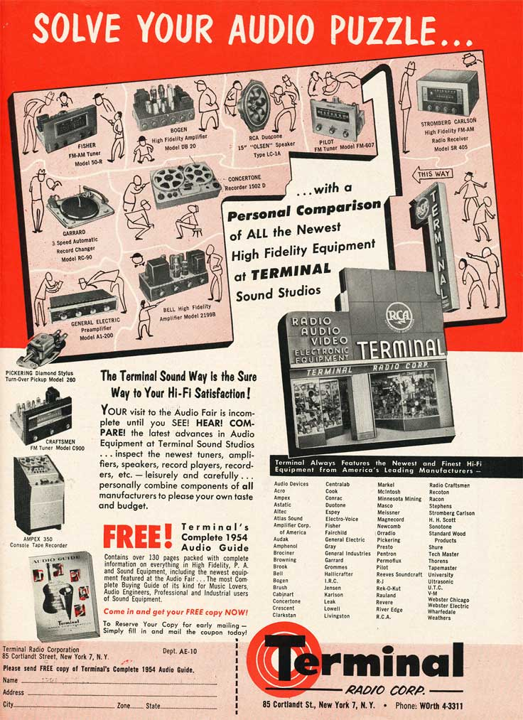 1953 ad for the Terminal Radio catalog in Reel2ReelTexas.com's vintage recording collection