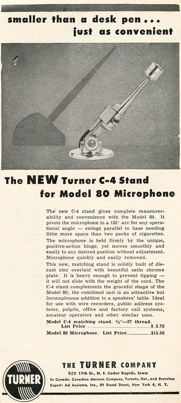 1953 Turner C-4 microphone ad in Reel2ReelTexas.com's vintage recording collection