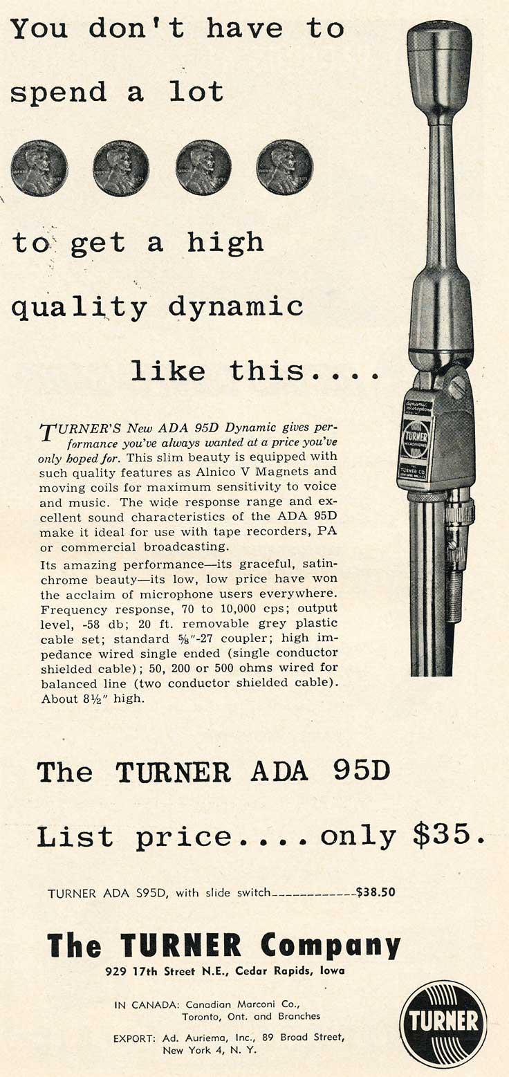 1953 Turner ADA 95Dmicrophone ad in Reel2ReelTexas.com's vintage recording collection