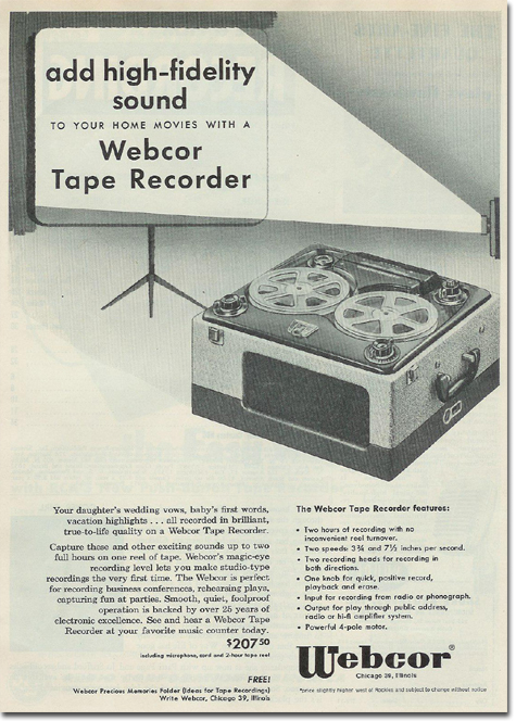 picture of 1953 Webcor tape recorder ad