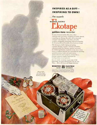 1953 Webster Ekotape reel to reel tape recorder ad in Reel2ReelTexas.com's vintage recording collection
