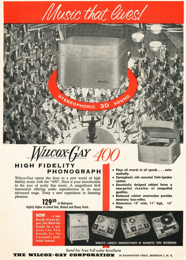 1953 Wilcox-Gay reel to reel tape recorder ad in Reel2ReelTexas.com's vintage recording collection