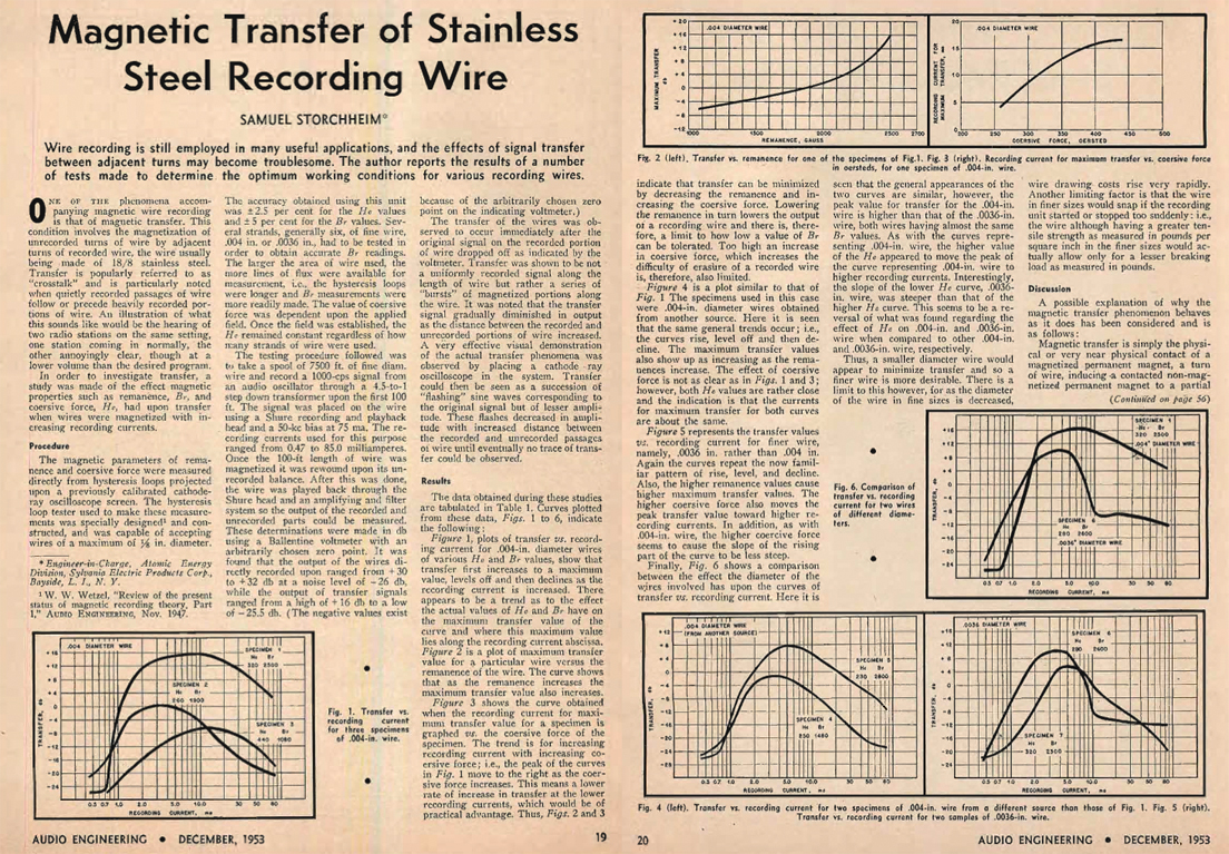 1953 Audio Engineering story on Magnetic Transfer of Stainless Steel Recording Wire in Reel2ReelTexas.com's vintage recording collection
