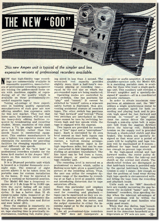 1954 review of the Ampex 600 reel to reel professional tape recorder in Phantom Productions' vintage recordin