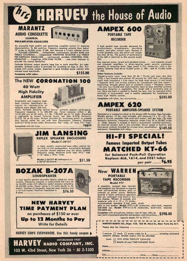 1954 Harvey's ad featuring Lansing and Ampex in Reel2ReelTexas.com's vintage recording collection