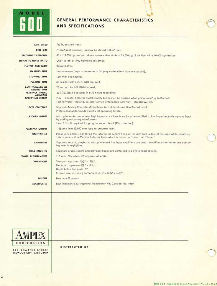1954 specifications for the Ampex 600 reel tape recorder in Reel2ReelTexas.com's vintage recording collection