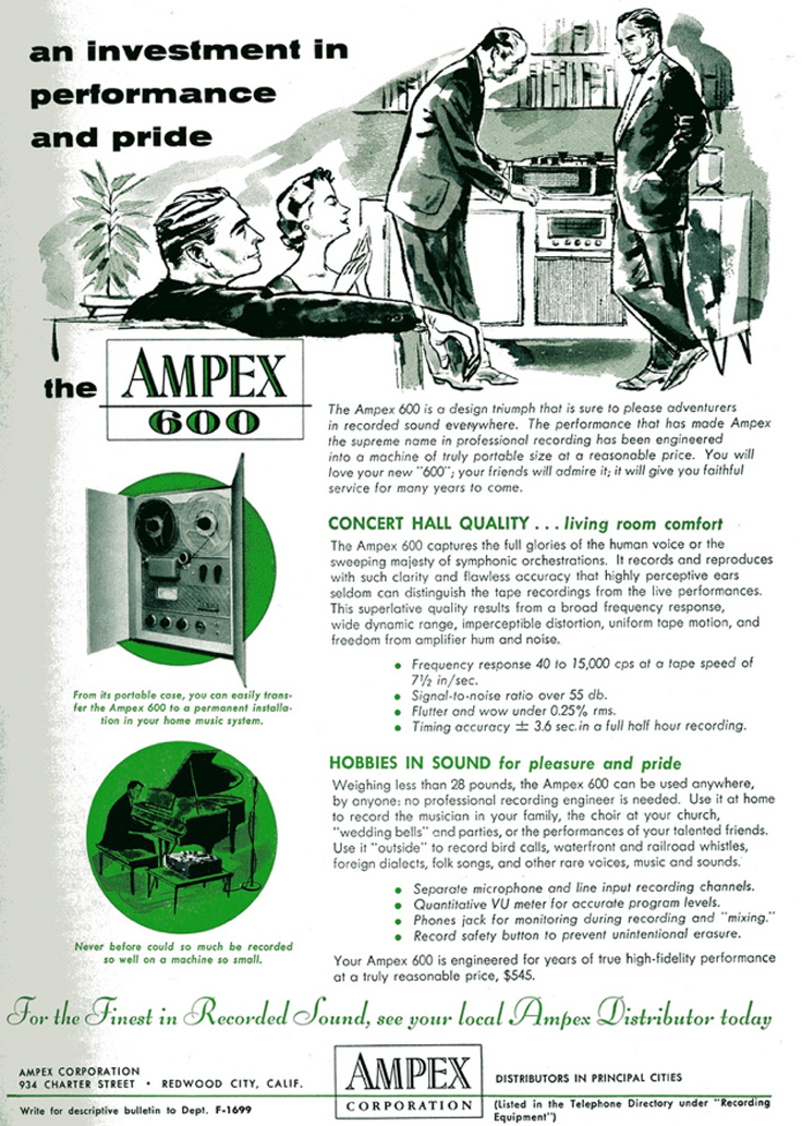 1954 ad for the Ampex 600 reel to reel professional tape recorder in Reel2ReelTexas.com's vintage recording collection