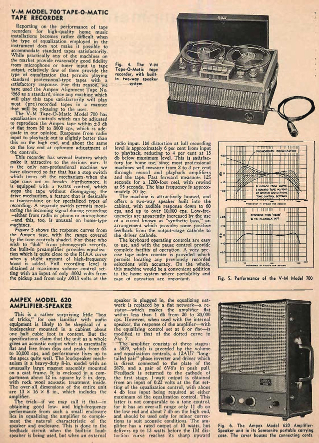 1954 review of the Ampex 620 speaker system for Ampex tape recorders in Reel2ReelTexas.com's vintage reel tape recorder collection