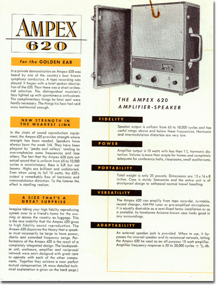 1954 ad for the Ampex 620 speaker system in Reel2ReelTexas.com's vintage recording collection