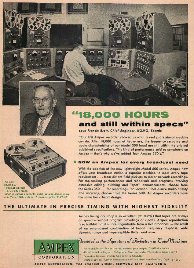 1954 ad for the Ampex 300, 350 and 600 professional reel to reel tape recorders used in radio station KOMO  in Reel2ReelTexas.com's vintage recording collection