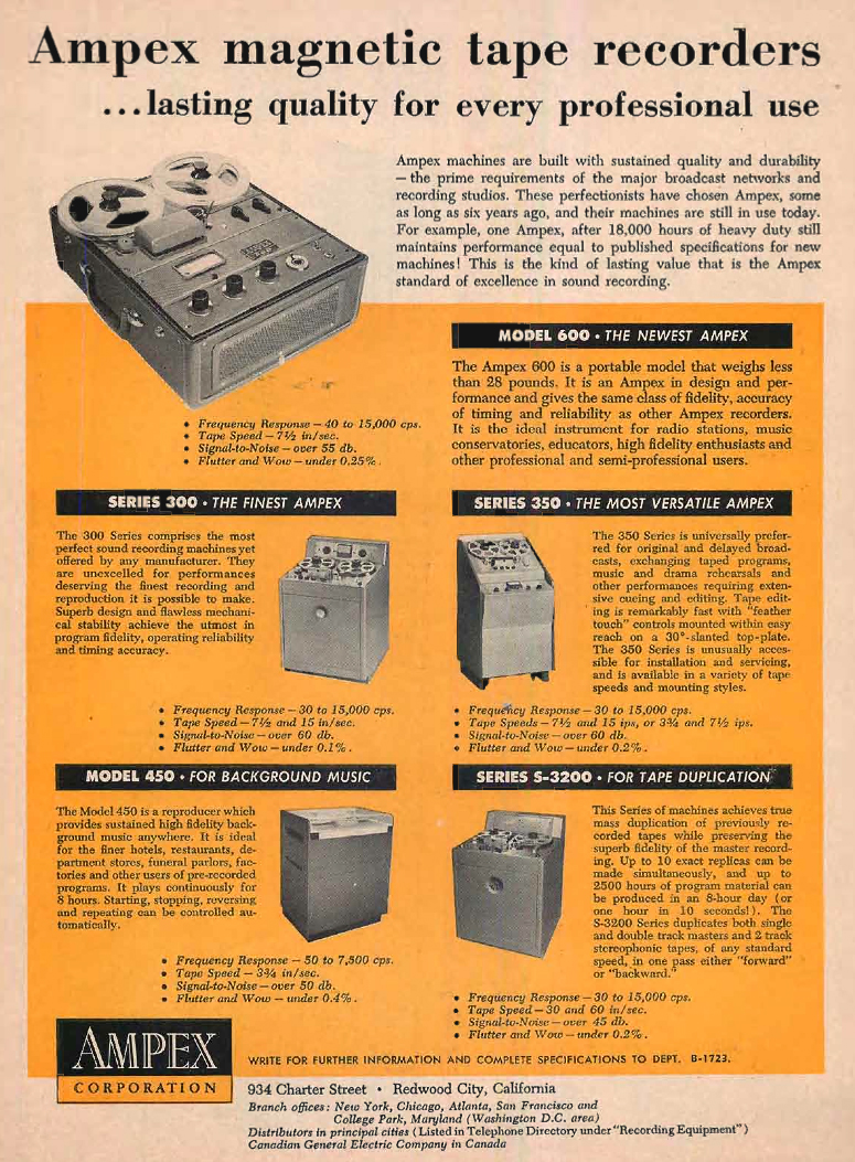 1954 ad for the Ampex 300, 350, 450, 600  and the Series S-3200 professional reel to reel tape recorders  in Reel2ReelTexas.com's vintage recording collection