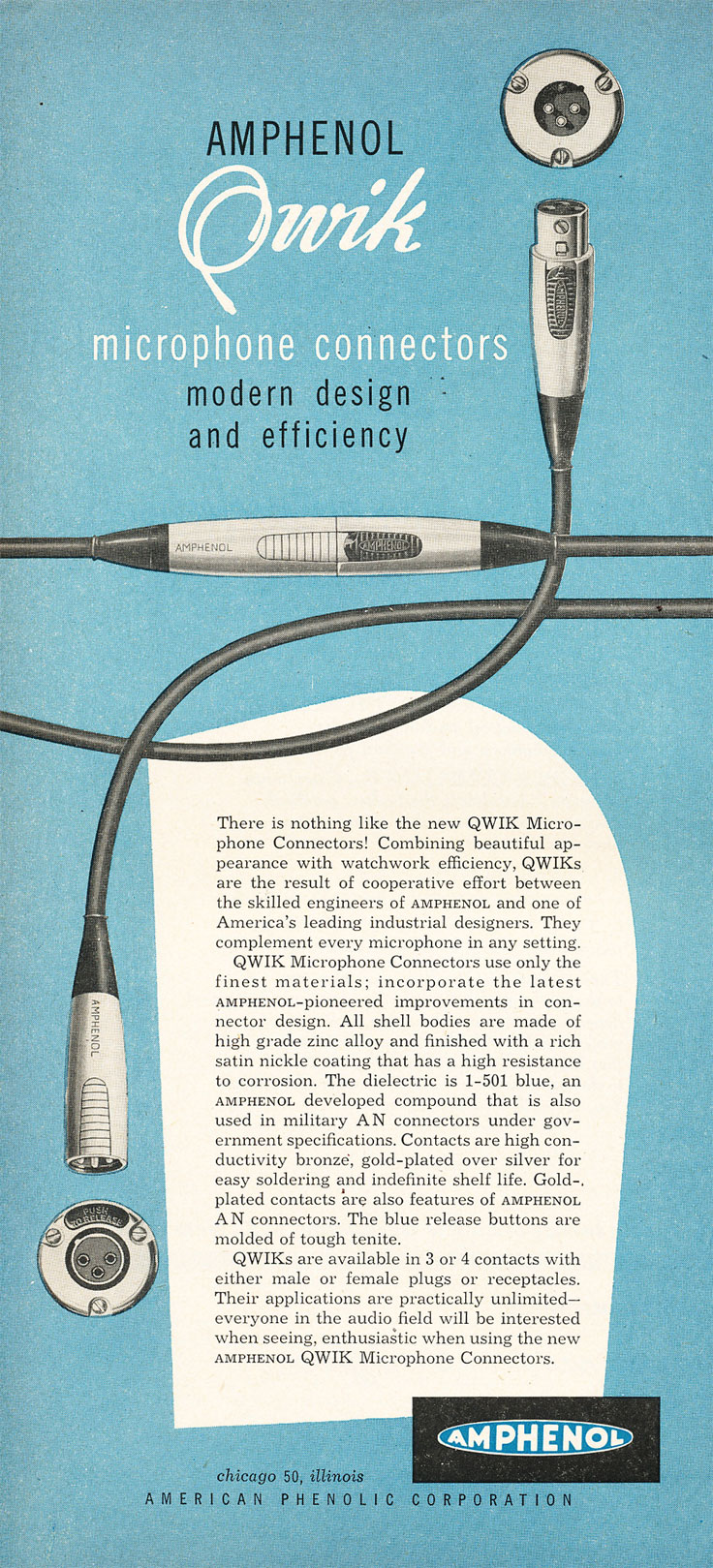 1954 Amphenol ad in Reel2ReelTexas.com's vintage recording collection