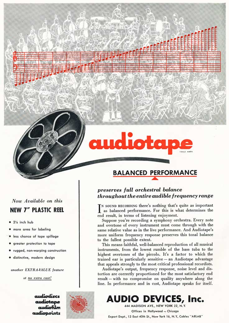 1954 ad for Audiotape reel tape in Reel2ReelTexas.com's vintage recording collection